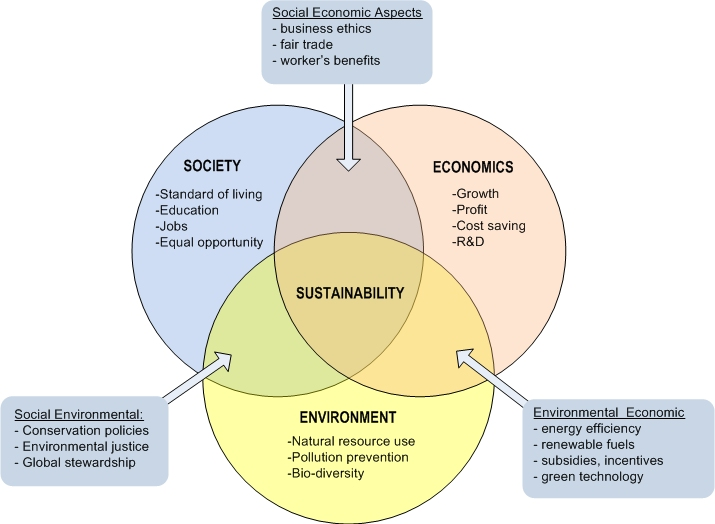 Interplay of the environmental, economic, and social aspects of sustainable development.